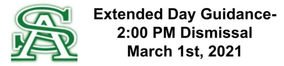 Extended Day Guidance- 2:00 PM Dismissal